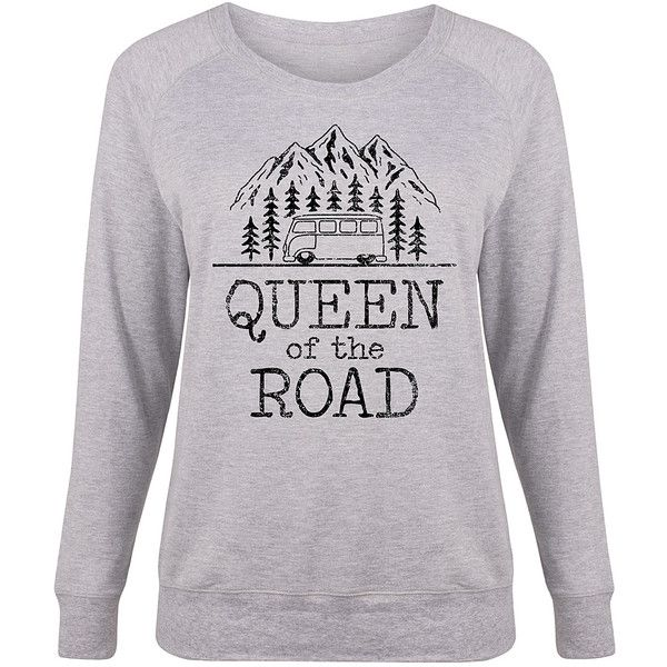 Country Casual Plus Athletic Heather 'Queen Of The Road' Slouchy... ($25) ❤ liked on Polyvore featuring plus size women's fashion, plus size clothing, plus size tops, plus size, sweater pullover, womens plus size tops, pullover top, womens plus tops and slouchy tops