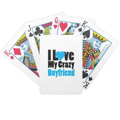 Couple matching I Love My Crazy Boyfriend Bicycle Playing Cards - valentines day gifts gift idea diy customize special couple love