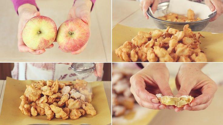 Ricetta facile per fare delle dolci Frittelle di Mela, semplici e squisite. Bocconcini croccanti con tutta la dolcezza delle mele.