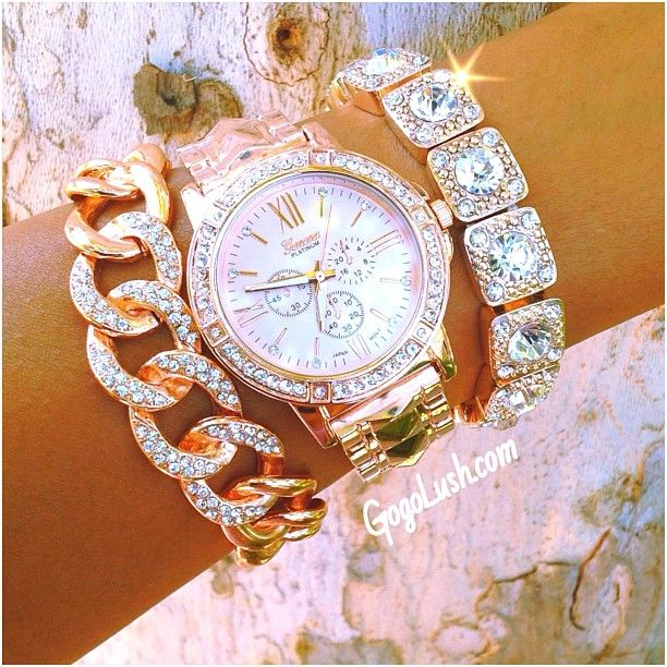 sparkly watch and bracelets... Love!