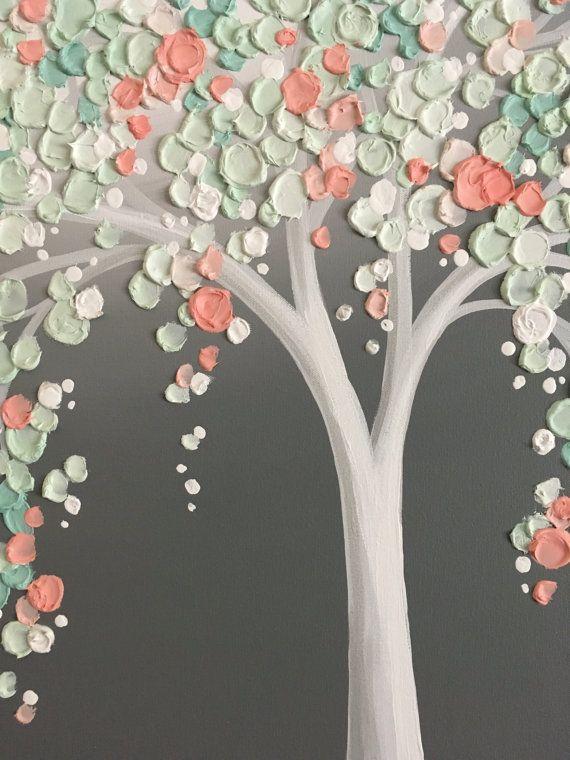 Mintgrün und Pfirsich-Koralle-Kunst strukturierte Baum