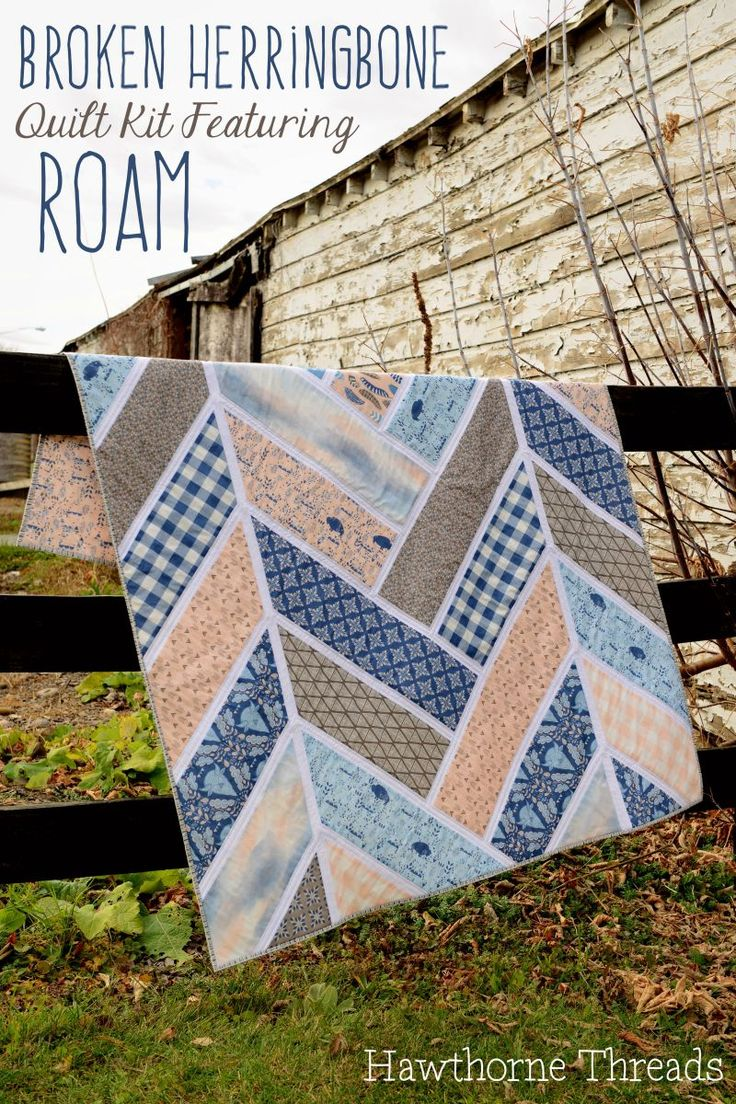 Roam Broken Herringbone Quilt Kit Chevron Braided