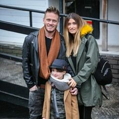 Charley Webb and Matthew Wolfenden leave Loose Women in London with their son Buster