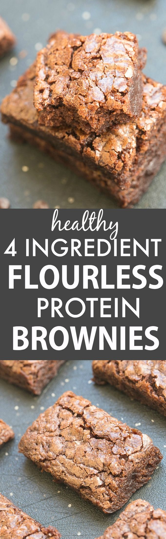 4-Ingredient Flourless Protein Brownies (V, GF, P, DF)- Gooey, fudgy and guilt-free brownies made with NO butter, NO oil, NO flour and NO grains- Seriously easy and fool-proof! {vegan, gluten free, paleo recipe}- thebigmansworld.com
