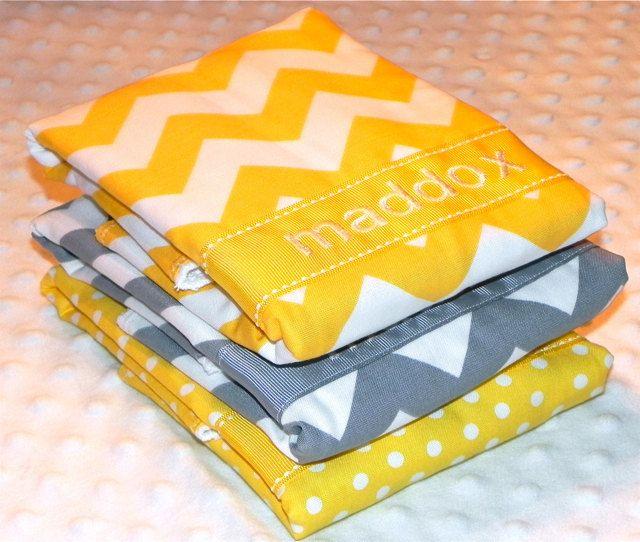 Personalized Burp Cloths - Yellow and Gray Chevrons and Polka Dots. $30.00, via Etsy.