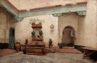"""Filadelfo Simi (Levigliani 1849 - Firenze 1923), """"Cortile spagnolo""""."""