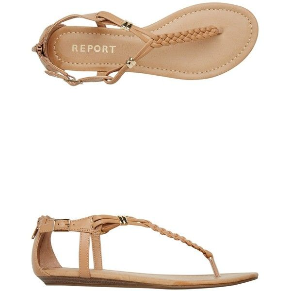 Report Lizz Braided Flat Sandal ($40) ❤ liked on Polyvore featuring shoes, sandals, flats, brown, flat sandals, ankle wrap flat sandals, t strap flats, t strap wedge sandals and wedges shoes