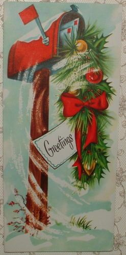 UNUSED Red Mailbox And Greenery 50s Vintage Christmas