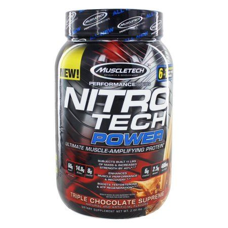 MuscleTech Performance Series Nitro Tech Power Whey Protein Supercharged Supplement Powder, Triple Chocolate Supreme 2lbs, Blue
