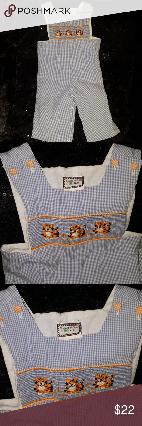 Shrimp and Grits embroidery smocked LSU Tigers Embroidery and smocked blind jumper shrimp and Grits Kids One Pieces