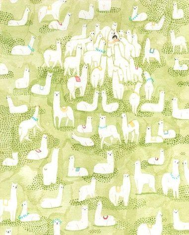 """the best hug of your life""  fun, fun llama print!  by Monica Ramos @Buy Some Damn Art.com/products/herd"