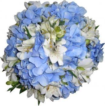 Buquê de Noiva de Hortência Azul e Astromélia