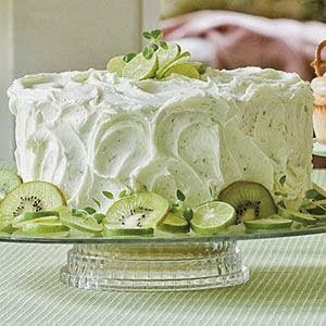 Key Lime Cake // Cake: 1 lemon cake mix 1 c oil 4 eggs 1 pkg lime flavored gelatin mix 3/4 c orange juice Mix all & bake according to box directions. Key lime Frosting 1/2 c butter 1 pkg cream cheese 3 T fresh lime juice 1 T orange juice 4 c confectioners' sugar zest from one lime mostly for pretty
