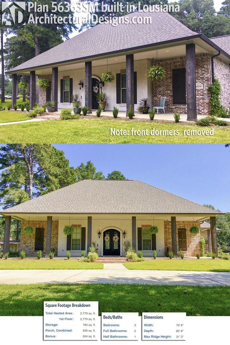 Our client built a modified version of house plan 56363SM in Louisiana with the dormers removed. Ready when you are! Where do YOU want to build?Specs-at-a-glance  3 beds  2.5 baths  2,700+ sq. ft.