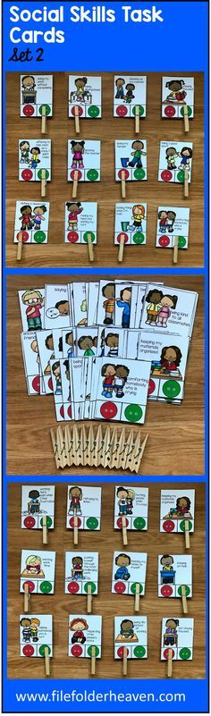 "These Social Skills Task Cards (Set 2) include 1 complete set of ""Go Behaviors/No Behaviors"" Task Cards with a total of 68 cards included that focus on social skills and appropriate school behavior.  What are ""Go Behaviors and No Behaviors?"" A Go Behavior is a good behavior. This means, ""It's good. Go ahead and do it."" A ""No Behavior"" is a bad behavior. This means, ""No. Do not do that behavior."""