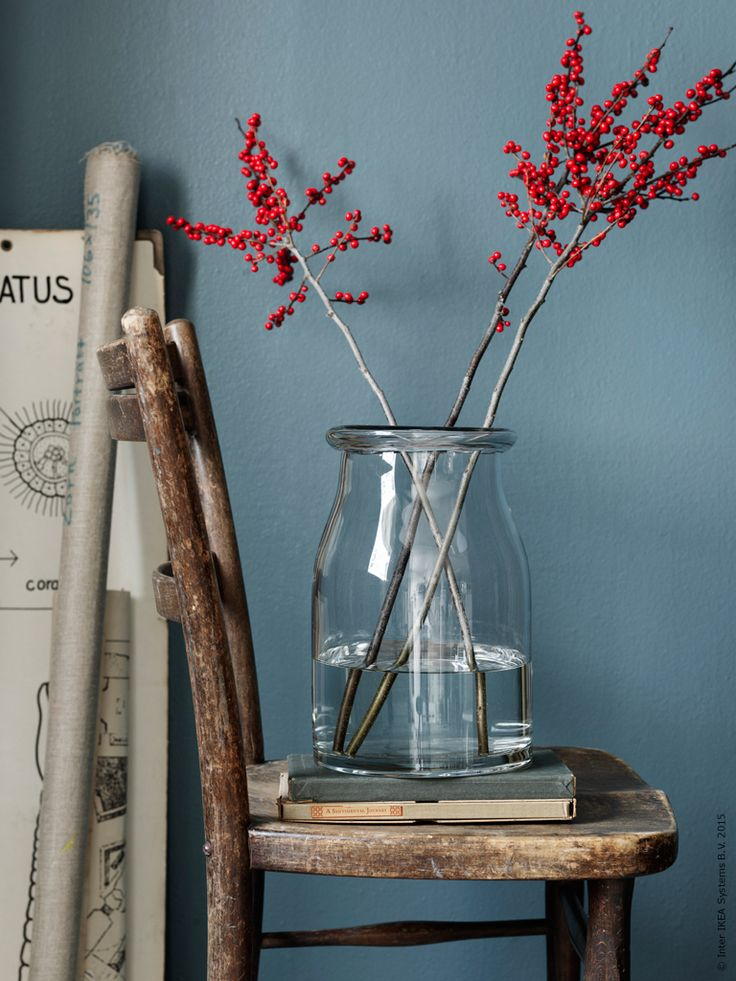 BEGÄRLIG vaser i klarglas finns i två storlekar och ger med sin mjukt rundade kant ett bra stöd åt några grenar Ilex med lysröda bär!
