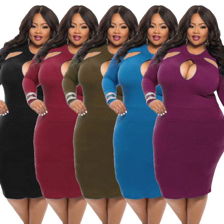 Final Sale Plus Size Long Sleeve BodyCon Dress w/ Mermaid Bottom ...