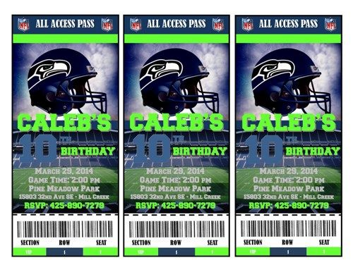 NFL Seattle Seahawks Ticket Style Birthday Invitation...these can be customized to any NFL Team!!