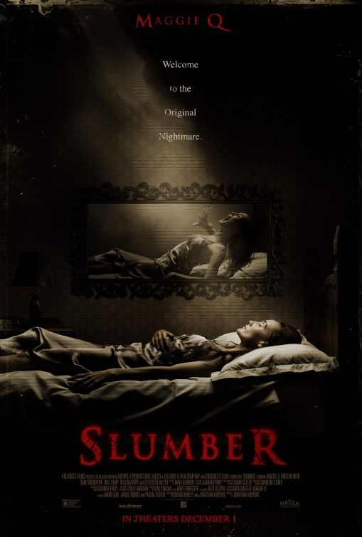 "Slumber horror original movie poster.   Tagline: ""Welcome to the original nightmare."""