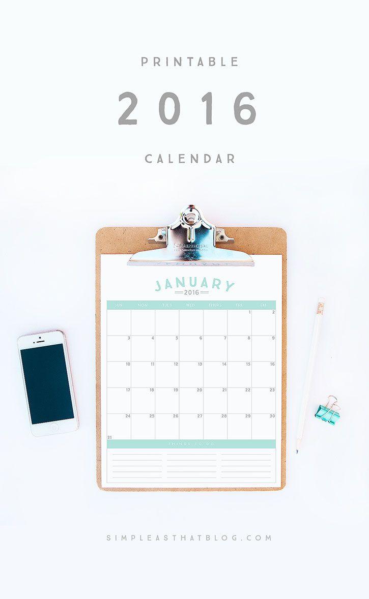 Free Printable 2016 Calendar - simple as that
