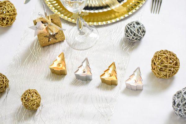 Bougies sapin pour décorer sa table de Noël!