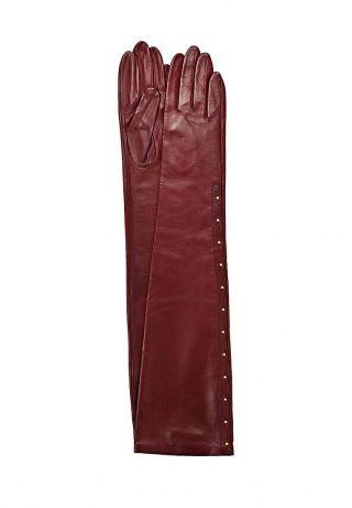 Длинные элегантные перчатки Eleganzza - стильное завершение образа. Модель бордового  цвета выполнена из натуральной кожи. Детали: текстильная подкладка, золотистый металлический декор. http://j.mp/1rQjlB1