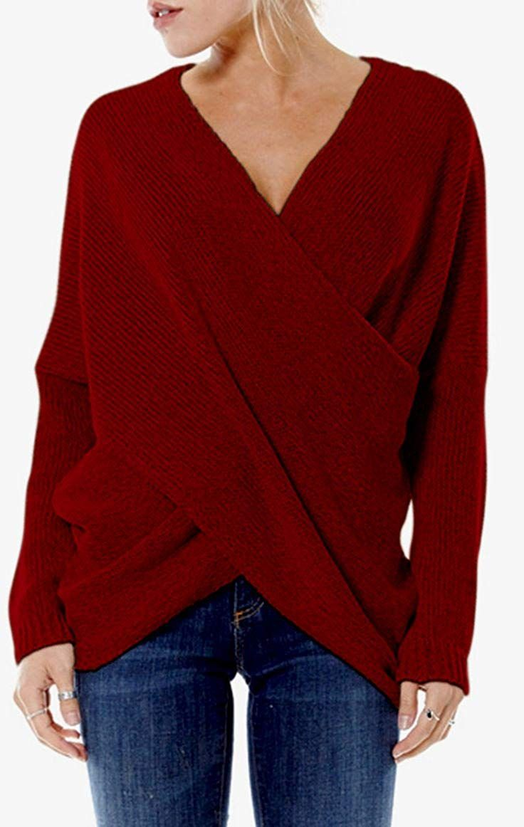 096191a541e CHARLES RICHARDS CR Women s V-neck Stylish Criss Cross Wrap Front Loose Fit  Baggy Pullover