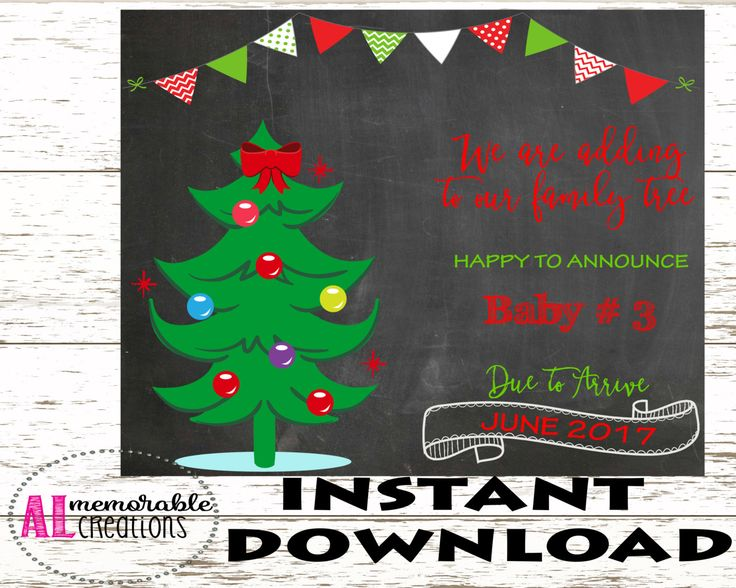 Christmas Pregnancy Announcement/Third Baby Announcement/Expecting Third Baby Sign/Dated June 2017/Pregnancy Chalkboard Photo Prop/Digital by ALMemorableCreations on Etsy