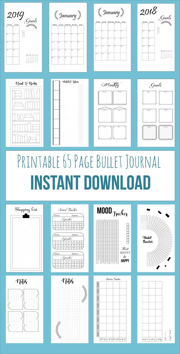 Bullet Journal Printable,76 Pages Bujo, Bullet Journal Template, Printable Calendar, 2018 Calendar, Notebook Inserts, Bullet Journal Planner