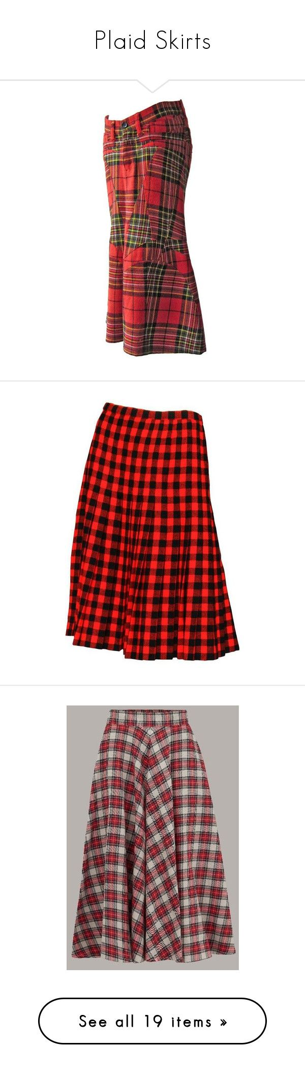 """Plaid Skirts"" by ravenleeart ❤ liked on Polyvore featuring skirts, pencil skirts, red, red tartan skirt, red tartan plaid skirt, plaid pencil skirt, tartan pencil skirt, comme des garçons skirts, wool pleated skirt and woolen skirt"
