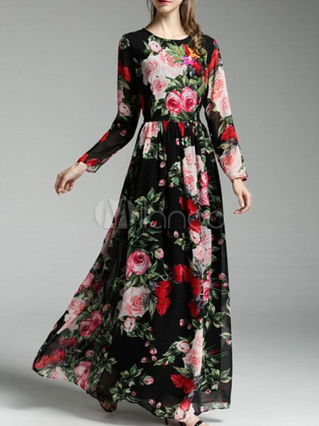 f8975dc8ee8d Black Maxi Dress Round Neck Long Sleeve Floral Printed Long Dress With  Scarf - Milanoo.com