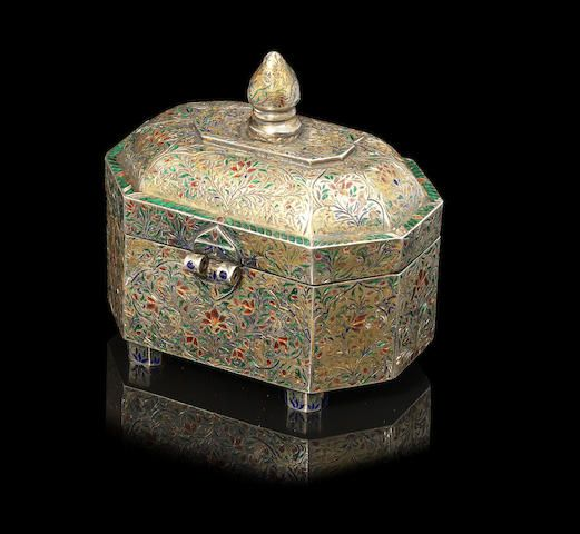 A Lucknow enamelled silver-gilt Pandan bearing the insignia of the Nawab of Oudh India, 18th Century