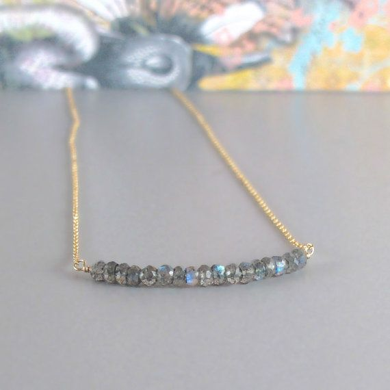 Tiny Labradorite Gemstone Gold Chain or Sterling by DJStrang