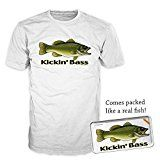 FSD Fresh Fish Kickin Bass Mens Funny Graphic Fishing T-Shirt
