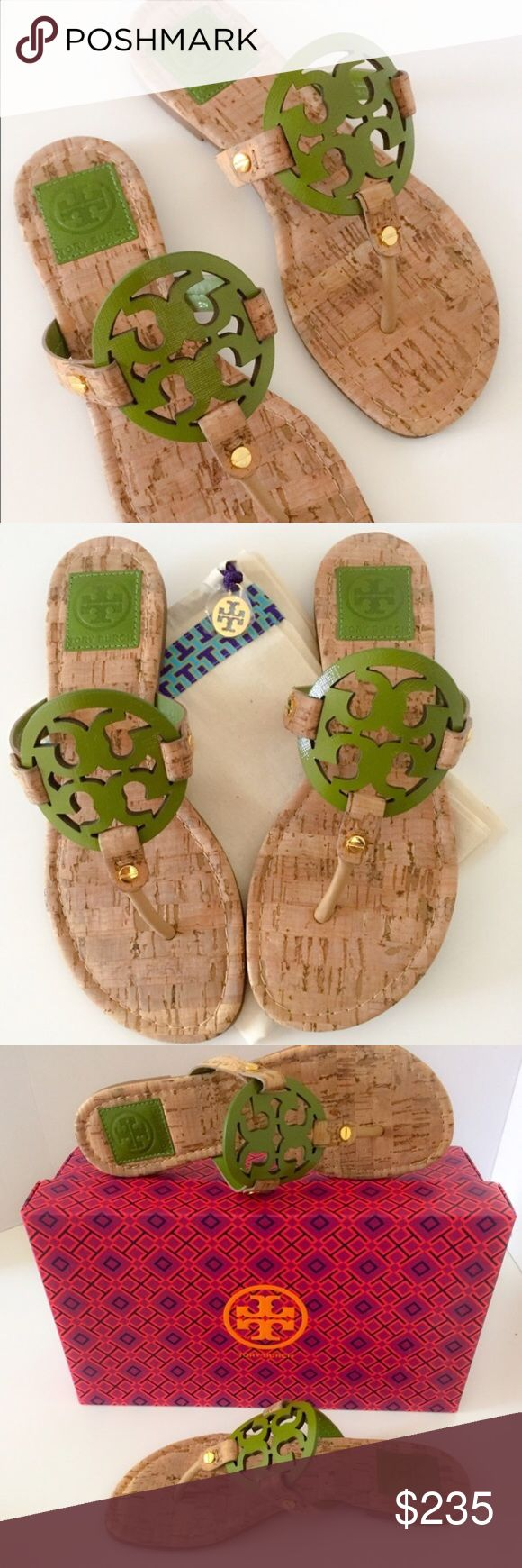 RARE Tory Burch Miller Patent Saffiano/Cork Tory Burch Miller Patent Saffiano/Cork Sandals NIB. Rare leaf green/natural honey wheat. Worn uncle; like new. PRICE FIRM. Tory Burch Shoes Sandals