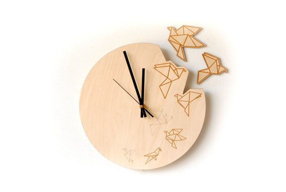 Bird silhouette clock/ Origami wall clock / Origami birds decor / Unique wood wall clock