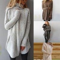 Wish | Women Fashion Autumn and Winter Casual Gray Irregular Pullover Turtleneck Sweater