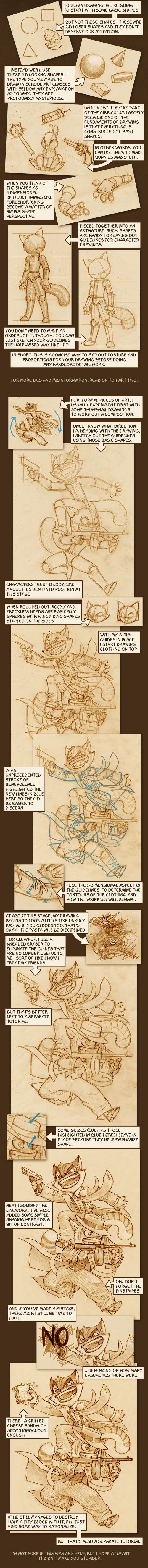 Lackadaisy How-to-Draw. Starring 3-D shapes, maquettes, and unruly spaghetti.