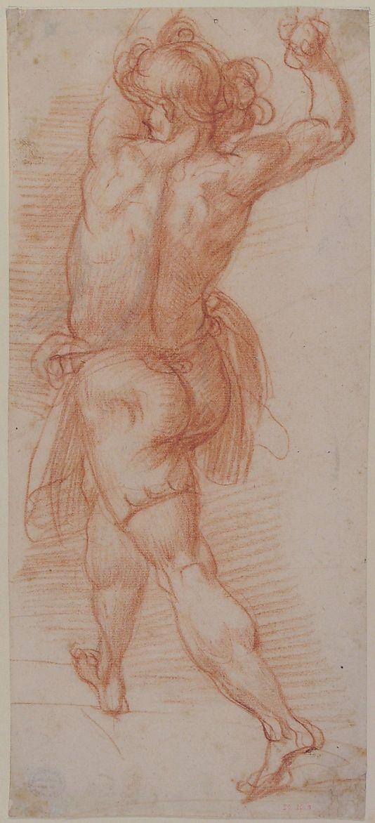 Figure of a Man Throwing Stones (recto); Study of a Man (?) (verso)    Cavalier d'Arpino (Giuseppe Cesari) (Italian, Arpino 1568–1640 Rome)    Date: 1568–1640