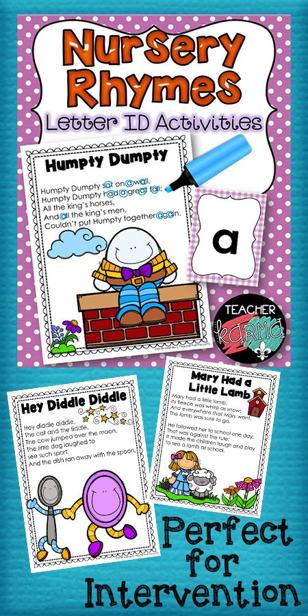 Letter Identification Nursery Rhyme Activities. Perfect for phonemic awareness and early phonics skills.  Great reading intervention.  TeacherKarma.com
