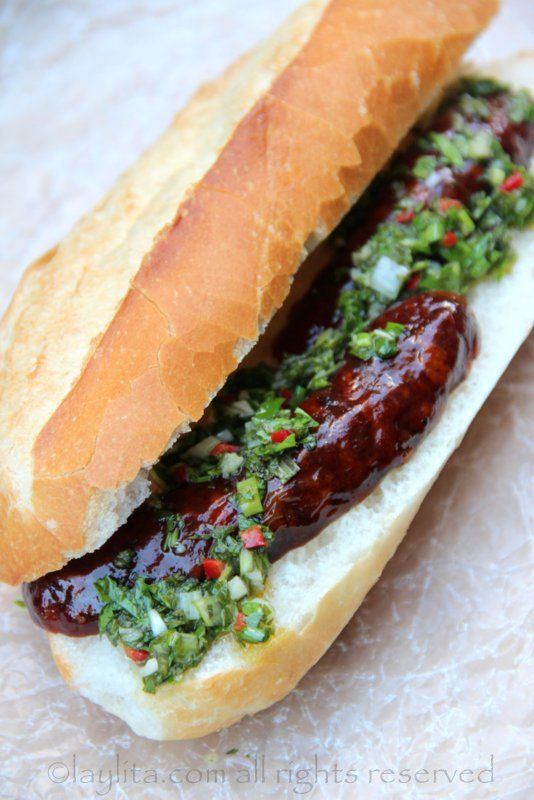 images of hot dog sandwich recipe | Choripan or chorizo hot dog with chimichurri sauce