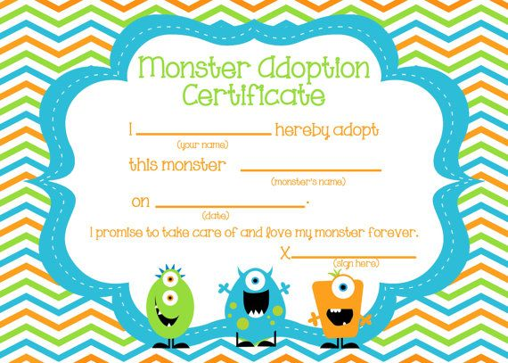 Adopt a Monster certificate and sign by FunFiestaPartyDesign