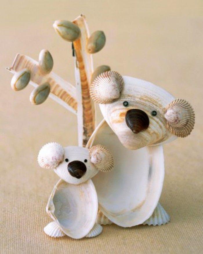 koalabeer beeldje van schelpen knutselen