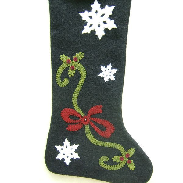 Wool Felt Christmas Stocking, Hand Appliqued, Classic Embellished, One... (€81) ❤ liked on Polyvore featuring home, home decor, holiday decorations, wool felt christmas stockings, snowflake christmas stocking, felted wool christmas stockings, christmas stockings and christmas holiday decor