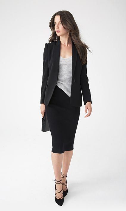 This is another spin on the classic skirt suit, which can take you from office to evening—lose the jacket, and it's plenty sexy.