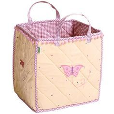 Butterfly Toy Bags ~ The Butterfly Toy Bag is lightly padded and is appliqued and embroidered with pretty butterflies and dragonflies.  It is finished with a light dusting of multi-coloured dots, lilac pompoms and lilac gingham lining and trim. £40.00