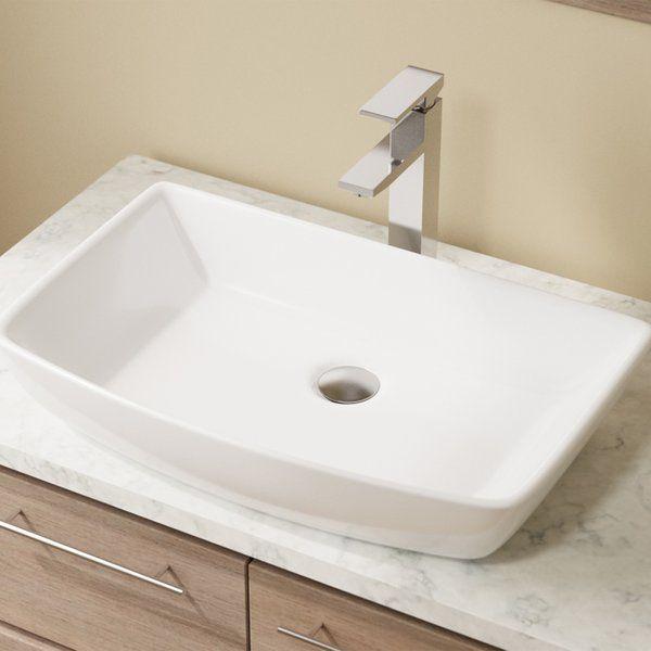 Vitreous China Rectangular Vessel Bathroom Sink Sinks and China