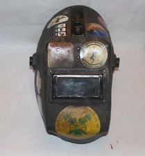 Huntsman  Welding Helmet Hood Vintage  Welder union stickers