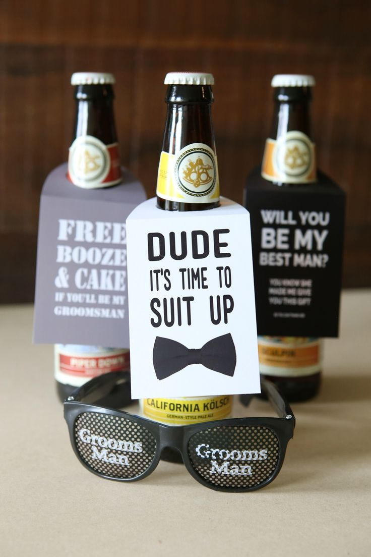 ask the guys to be in your wedding with this diy beer gift