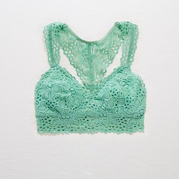 Aerie Boho Racerback Bralette ($20) ❤ liked on Polyvore featuring intimates, bras, green, racer back bra, lace bra, racerback bra, lacy bras and green lace bra